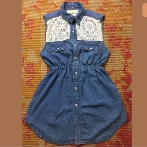 CARMAR Denim Lace Shirt Dress Button Down Pockets